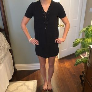 Suede Navy Blue Dress